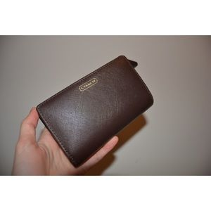 Authentic Brown Leather Coach Wallet